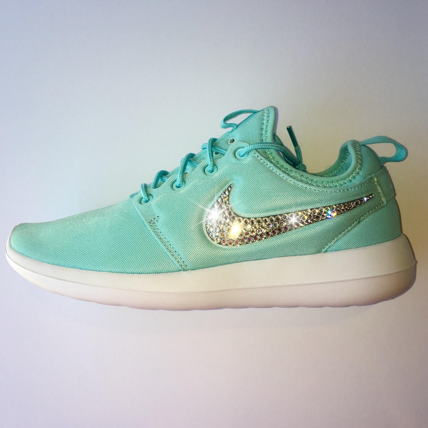 6a0b6b66e1972 ... Bling Nike Roshe Two Women s Shoes - Tiffany Blue - Bedazzled with Real  Swarovski Crystals ...