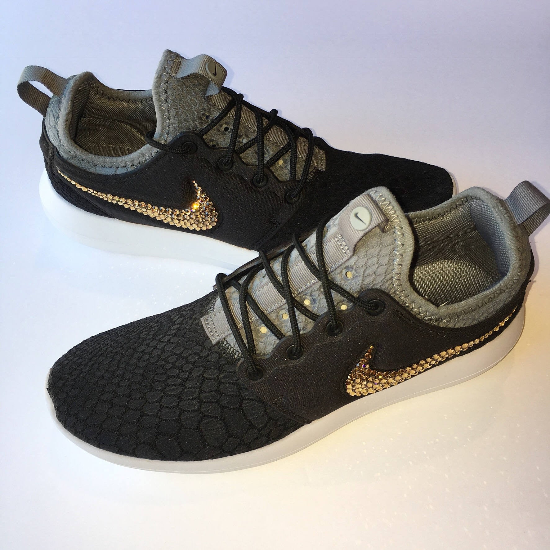 ... Bling Nike Roshe Two SE Shoes with Swarovski Crystals   Black   Gold    Bedazzled Authentic ... 043f6e292ba2