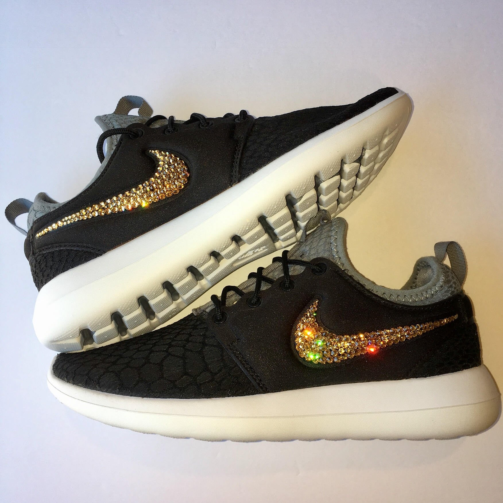 3f85f2cb802e0 ... Bling Nike Roshe Two SE Shoes with Swarovski Crystals   Black   Gold    Bedazzled Authentic ...