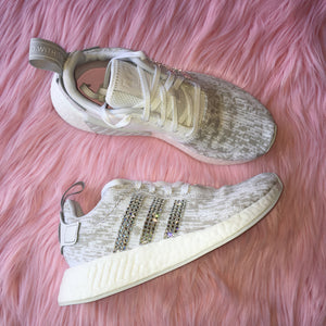 Bling Adidas NMD with Swarovski Crystals - White and Grey - Women's Originals NMD_R2 Runner Casual Shoes