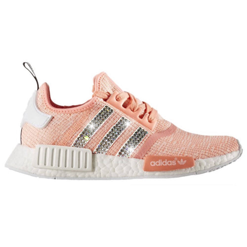 Bling Adidas NMD with Swarovski Crystals * Women's Originals NMD_R1 Runners Casual Shoes * Sun Glow / Light Coral