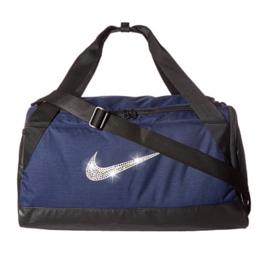Bling Nike Brasilia Gym Bag with Swarovski Crystal Bedazzled Swoosh NAVY