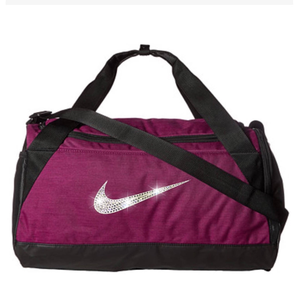 Bling Nike Brasilia Training Duffel Gym Bag with Swarovski Crystal Bedazzled Swoosh BERRY Extra Small
