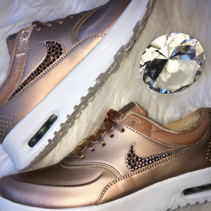 Rose Gold Bling Nike Air Max Thea Premium Metallic Shoes with Swarovski Crystals * Bedazzled Rhinestone Swooshes