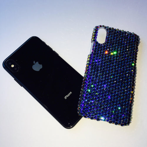 For iPhone X / 10 - Exquisite Meridian Blue - Multi Color - Crystal Diamond Rhinestone BLING Back Case BeDazzled made w/ Swarovski Crystals
