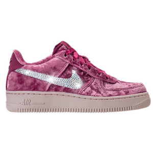 Bling Nike Air Force 1 LV8 Velvet Shoes with Swarovski Crystal Bedazzled  Swooshes   Tea Berry 0b306cdf61