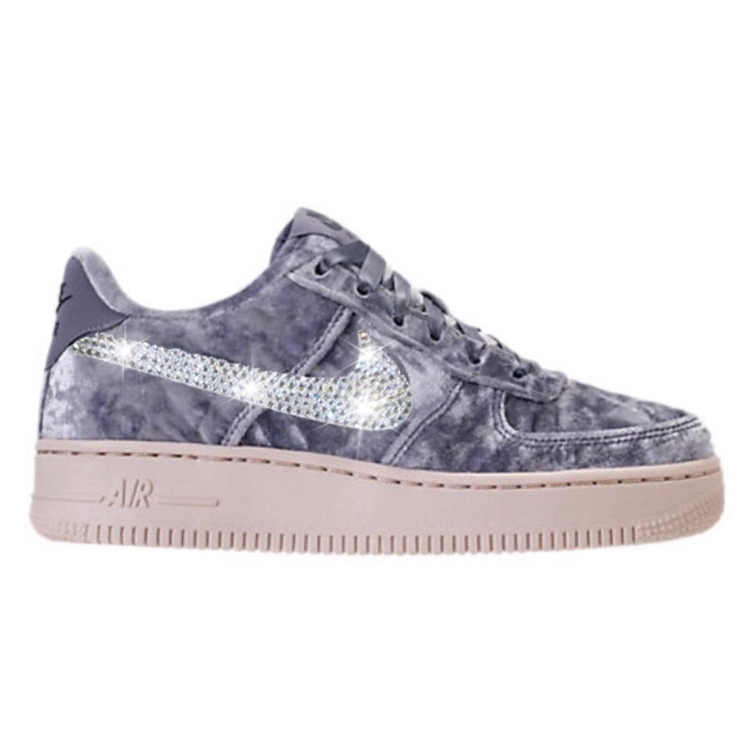 Bling Nike Air Force 1 LV8 Velvet Shoes with Swarovski Crystal Bedazzled Swooshes * Dark Sky Blue