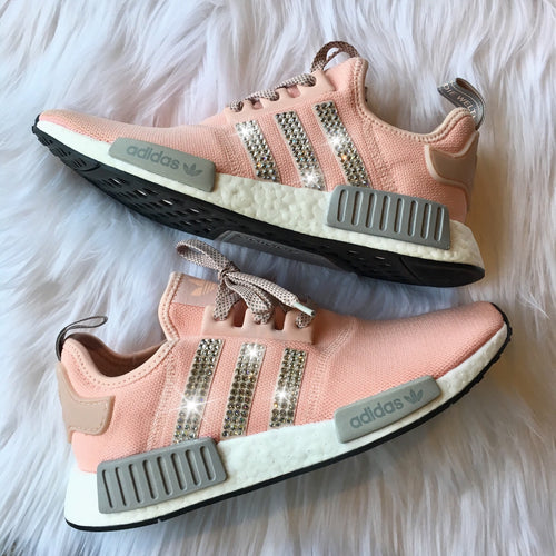 Bling Adidas NMD with Swarovski Crystals * Women's Originals NMD_R1 Runners Casual Shoes * Vapour Pink