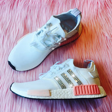 RESTOCKED! Bling Adidas NMD with Swarovski Crystals - White & Pink - Women's Originals NMD_R1 Runner Casual Shoes