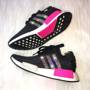 RESTOCKED!! Bling Adidas NMD R1 Primeknit with Swarovski Crystal Stripes- Black & Pink Women's Shoes