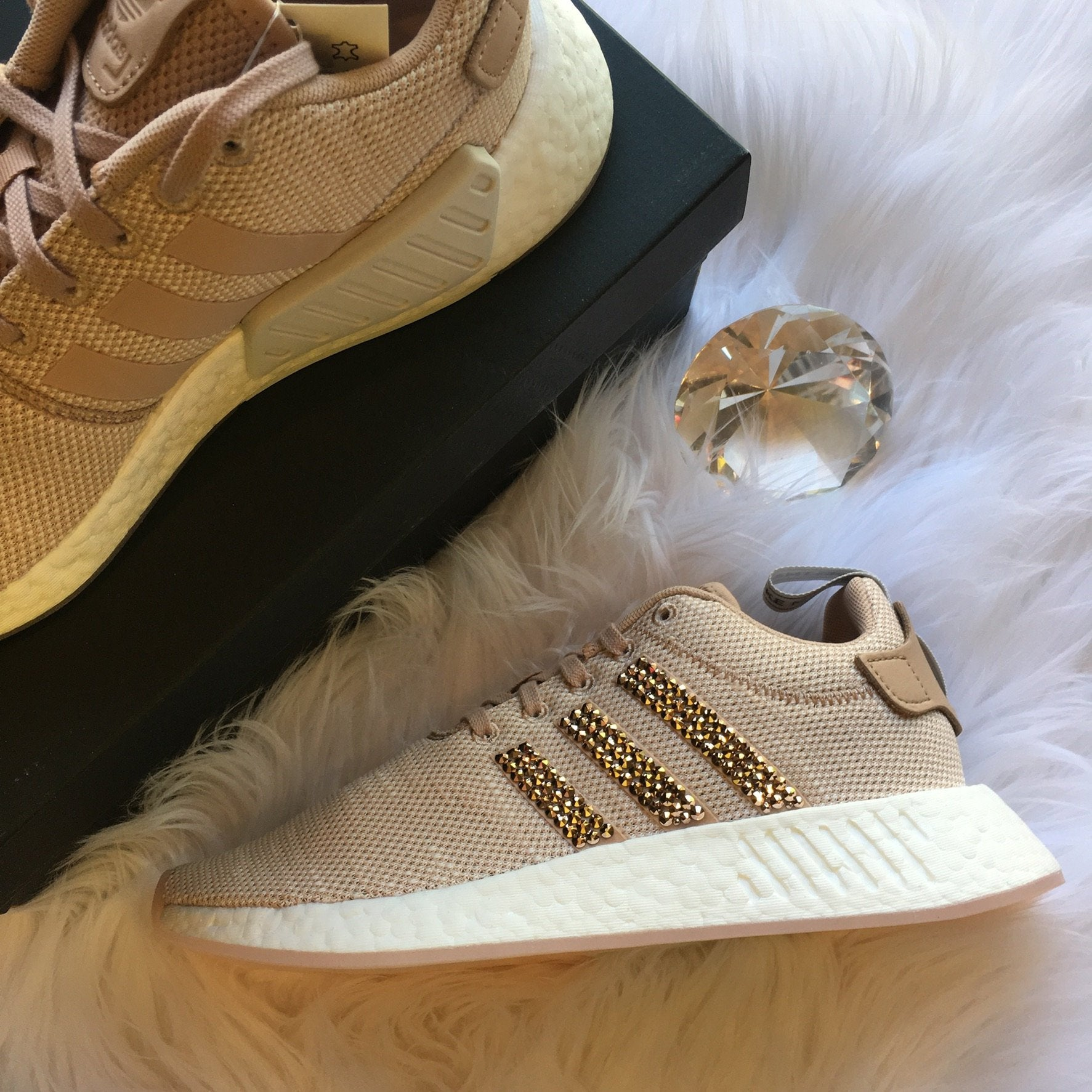 9f275258c ... ROSE GOLD Bling Adidas NMD with Swarovski Crystals - Bedazzled Women s  Originals NMD R2 Runner Casual Shoes ...