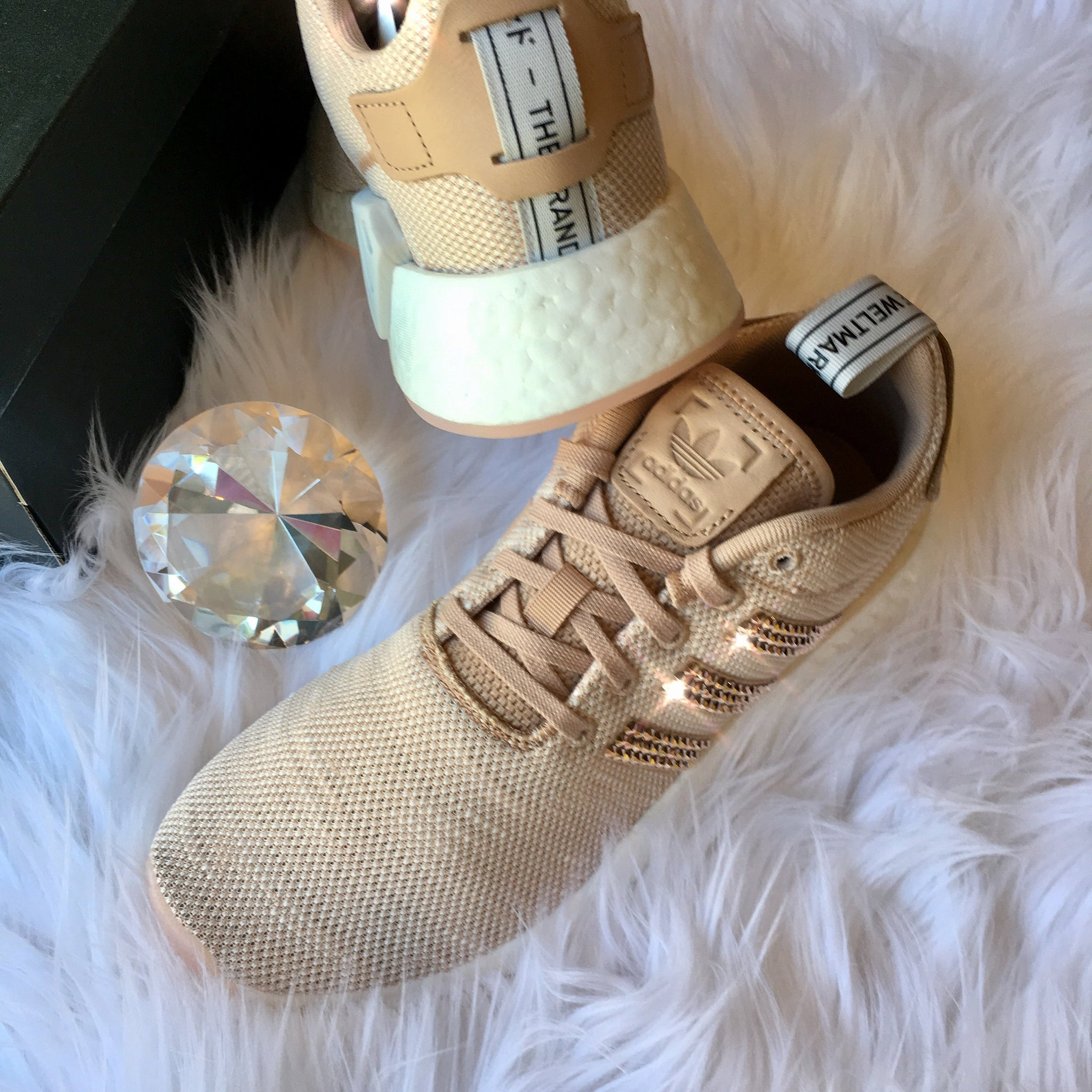 666cac74ec7d ... ROSE GOLD Bling Adidas NMD with Swarovski Crystals - Bedazzled Women s  Originals NMD R2 Runner Casual Shoes ...