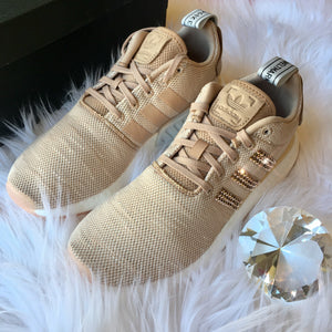ROSE GOLD Bling Adidas NMD with Swarovski Crystals - Bedazzled Women's Originals NMD_R2 Runner Casual Shoes