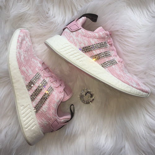 Bling Adidas NMD with Swarovski Crystals - Pink and White - Women's Originals NMD_R2 Runner Casual Shoes