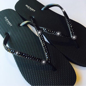 Black Bling on Black Flip Flops  Crystal Diamond Rhinestone handmade using Swarovski Crystals Thongs Sandals