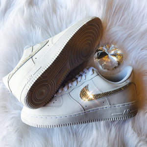 RESTOCKED! Bling Nike Air Force 1 '07 with Swarovski Crystals * ALL White *  Bedazzled w/100% Authentic Swarovski Crystal Rhinestones AF1
