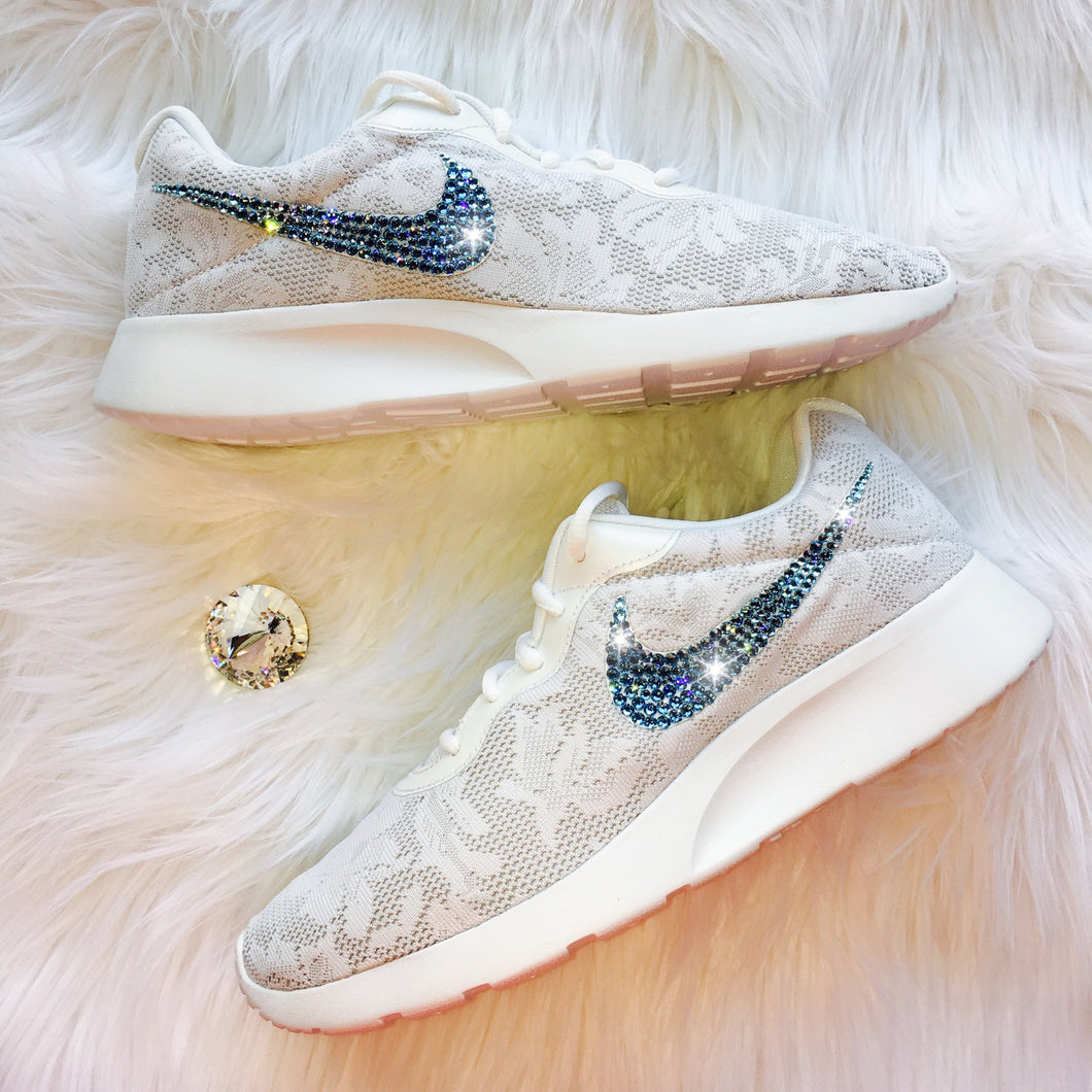 Bling Nike Tanjun ENG Shoes with Aqua Swarovski Crystals * White Lace * Bedazzled Shoes with Rhinestones