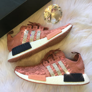Bling Adidas NMD with Swarovski Crystals * Women's Originals NMD_R1 Runners Casual Shoes * Raw Pink