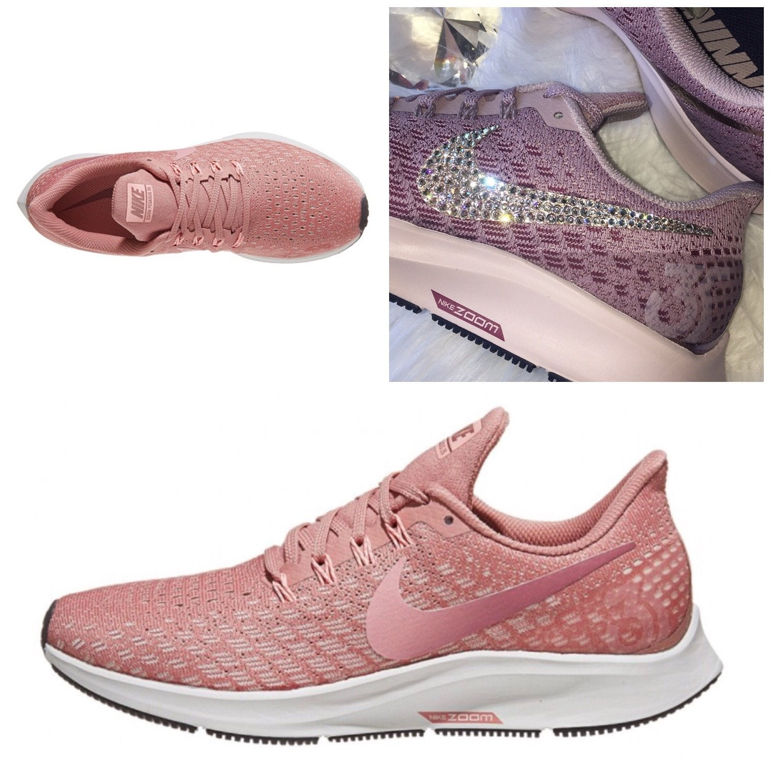 b46424015e2fc NEW Bling Nike Air Zoom Pegasus 35 Shoes with Swarovski Crystals * Rust Pink  ...