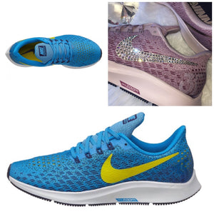 8038812cd348 NEW Bling Nike Air Zoom Pegasus 35 Shoes with Swarovski Crystals   Blue    Yellow