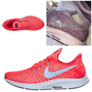 NEW Bling Nike Air Zoom Pegasus 35 Shoes with Swarovski Crystals * Crimson
