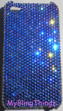 For iPhone 5 5S SE - Small 12ss Meridian Blue Crystal Diamond Rhinestone BLING Back Case Handmade using 100% Swarovski Elements