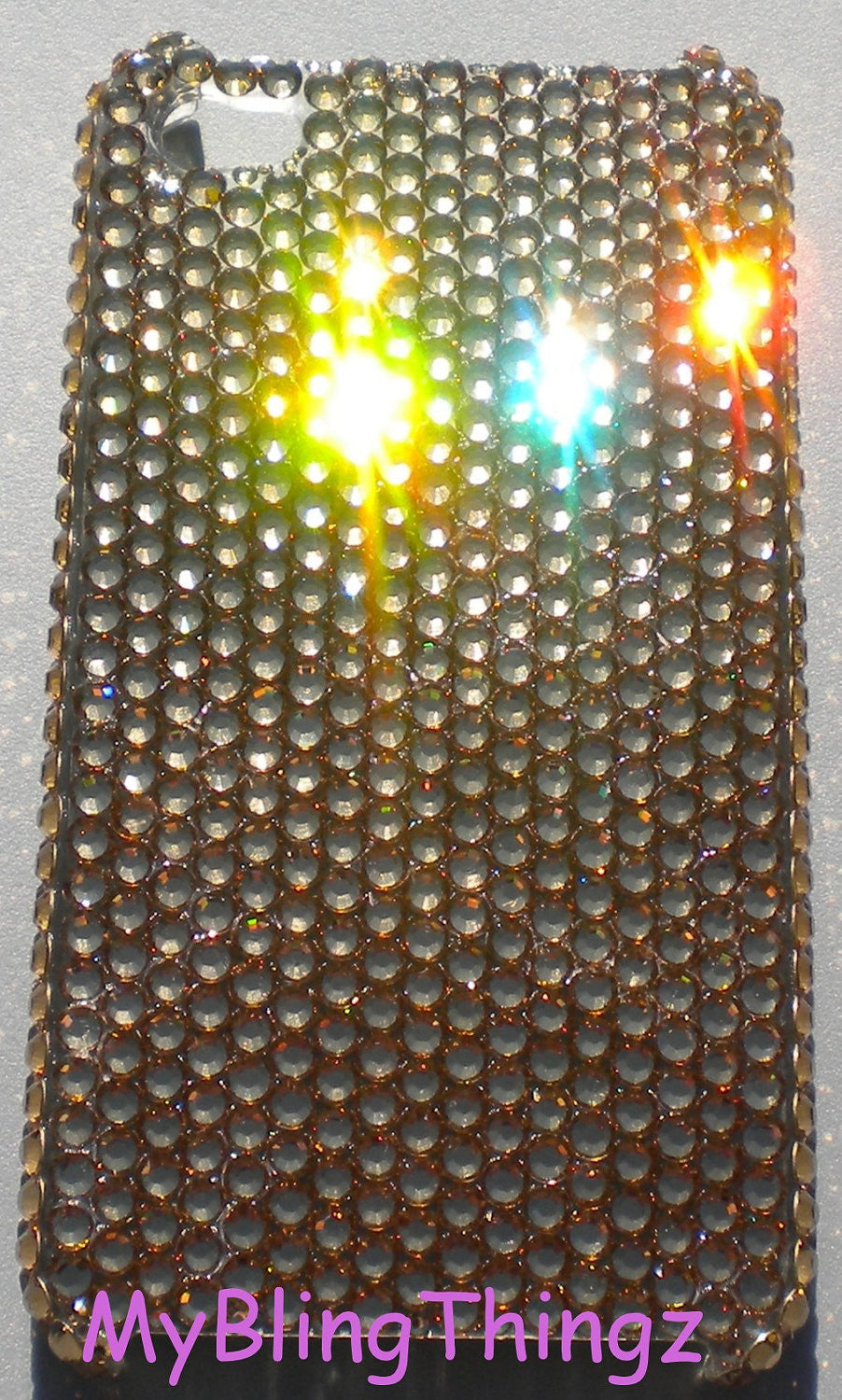 For iPhone 5 5S SE - GOLD Light Colorado Topaz Crystal Diamond Rhinestone BLING Back Case made with 100% Swarovski Elements