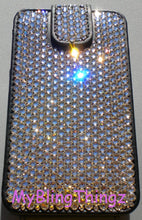 For iPhone SE or 5 / 5S - Clear Crystal Diamond Rhinestone BLING iFlip Wallet Style Leather Case - made using 100% Swarovski Elements