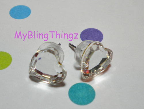 Sparkly SweetHearts - Crystal Clear Heart Post Earrings handmade with Swarovski Elements, 10mm Studs