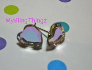 Sparkly SweetHearts - Vitrail Light Crystal Post Earrings handmade with Swarovski Elements, 10mm Studs