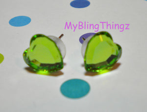 Sparkly SweetHearts - Lime Green Crystal Post Earrings handmade with Swarovski Elements, 10mm Studs