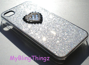 For iPhone 5 5S - Silver Glitter Heart Sparkle Case with Crystal Diamond Bling Rhinestones Handmade with Swarovski Elements