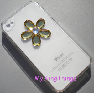 Fun Flower Diamond Rhinestone BLING Design on Clear Crystal Back Case for Apple iPhone 4 4G 4S handmade with Swarovski Elements
