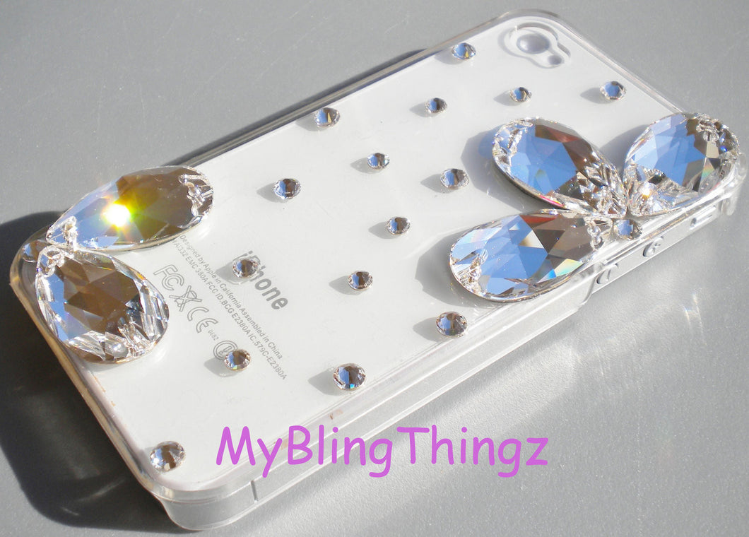 Exquisite Diamond Rhinestone 3D Flower BLING Design on Clear Crystal Back Case for iPhone 5 5S handmade using Swarovski Elements