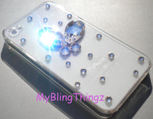 Handmade 3D Diamond Rhinestone Butterfly Design on Clear Crystal Back Case for New iPhone SE or 5 5S made with Swarovski Crystals