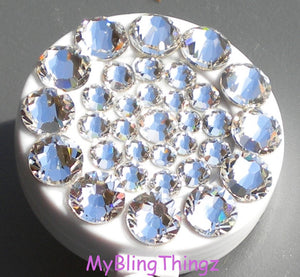 Clear Crystal Diamond Rhinestone BLING Retractable Reel ID Badge Holder handmade with Swarovski Elements