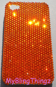 Small 12ss Bright Orange Sun Crystal Diamond Rhinestone BLING Back Case for iPhone SE or 5S / 5 handmade using 100% Swarovski Crystal