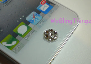 Crystal Bling Home Button Sticker for iPhone 3GS 4 4S 5 5C 5S iPad 2 3 4 Mini & iPod Touch 2 3 4 5 made w/ Swarovski Elements Sapphire Blue