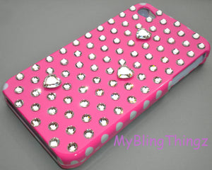 For iPhone SE 5S / 5 PINK Polka Dots & Hearts Crystal Diamond Bling Rhinestone Case handmade with 100% Swarovski Crystals