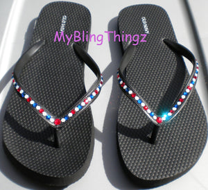 Simply Elegant : Red White Blue USA Crystal Diamond Rhinestone Bling Flip Flops handmade using Swarovski Crystals Thongs Sandals