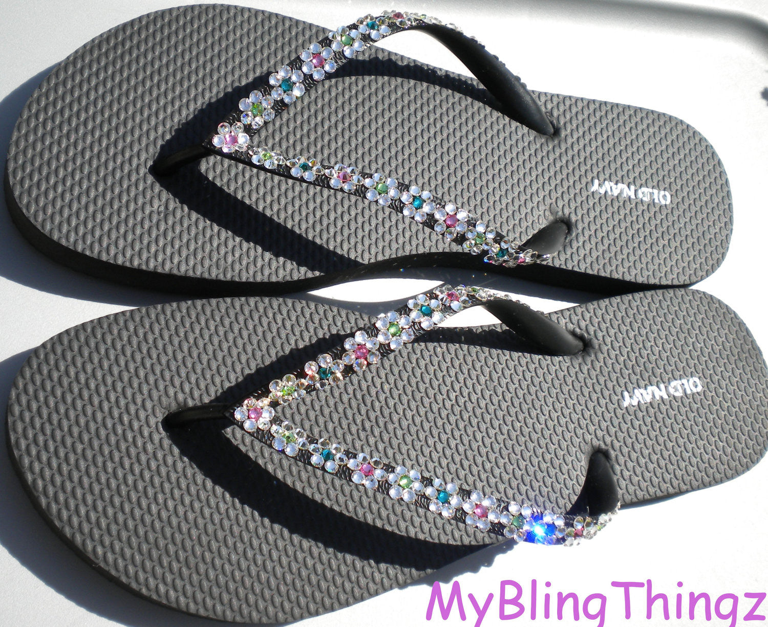 ccd5ddd16 ... Cute Daisy Chain Flowers - Sparkly Bling Flip Flops Sandals Handmade  with real Crystals from Swarovski