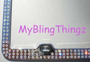 3 Rows Iridescent Crystal AB BLING Inset / Embedded Rhinestone License Plate Frame handmade using 100% Swarovski Elements