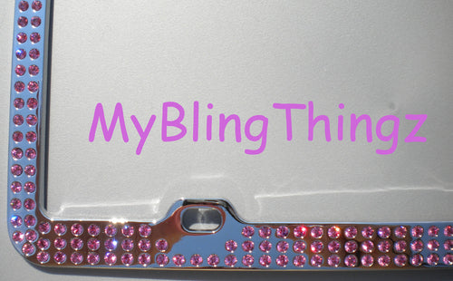 3 Rows Rose Pink Crystal BLING Inset / Embedded Rhinestone License Plate Frame handmade using 100% Swarovski Elements