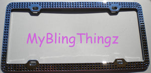 3 Rows Jet Black Crystal BLING Inset / Embedded 3 Row Rhinestone License Plate Frame handmade using 100% Swarovski Elements