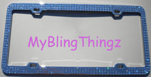 3 Rows Light Sapphire Baby Blue Crystal BLING Inset / Embedded Rhinestone License Plate Frame made with 100% Swarovski Elements