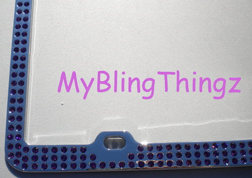 3 Rows Amethyst Purple Crystal BLING Inset / Embedded 3 Row Rhinestone License Plate Frame handmade with 100% Swarovski Elements