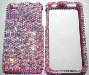 For iPhone 5 5s - Light Rose Baby Pink & Iridescent Crystal AB Confetti Mix Rhinestone BLING 2 Piece Case made with 100% Swarovski Elements
