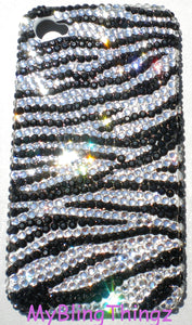 For iPhone 5 5S - Tiny 12ss Zebra Stripe Design Crystal Diamond Rhinestone BLING Back Case Handmade with 100% Swarovski Elements