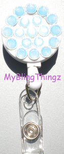 Elegant White Opal Crystal Diamond Rhinestone BLING Retractable Reel ID Badge Holder handmade with 100% Swarovski Elements