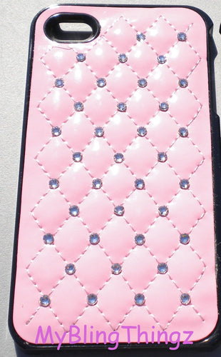 For iPhone SE or 5S / 5 - Quilted Baby Pink Leather Back Case Cover embellished w/ Clear Diamond Rhinestone Bling Swarovski Crystals